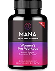 MANA by Dr. Emil Nutrition Preworkout Capsule for Women, Boost Energy, Endurance, Strength and Focus, 30 Servings