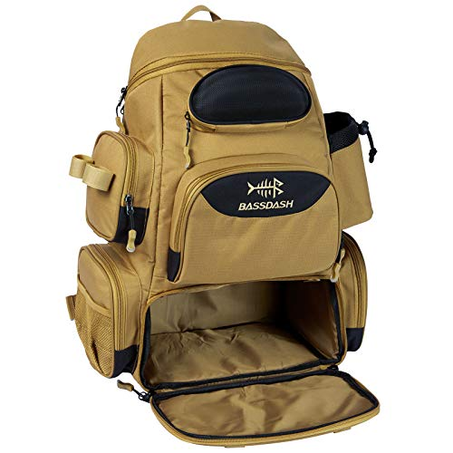 Bassdash Fishing Tackle Backpack Water Resistant Lightweight Tactical Bag Soft Tackle Box with Rod Holder and Protective Rain Cover (British Khaki Backpack [3600] Without Trays)