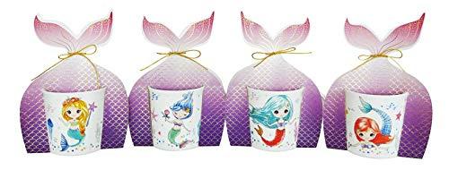 DISOK - Taza Sirena, presentada en Bolsa de Regalo Cola. Tazas Nuevas de Sirena para Bodas, bautizos, comuniones, Fiestas, Eventos. Multicolor