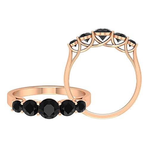 Anillo de boda de diamante negro vintage de 1,20 ct, 5 piedras de aniversario de novia, anillos de promesa, para mujeres antiguas, mínimo apilable, 14K Oro rosa, Size:EU 69