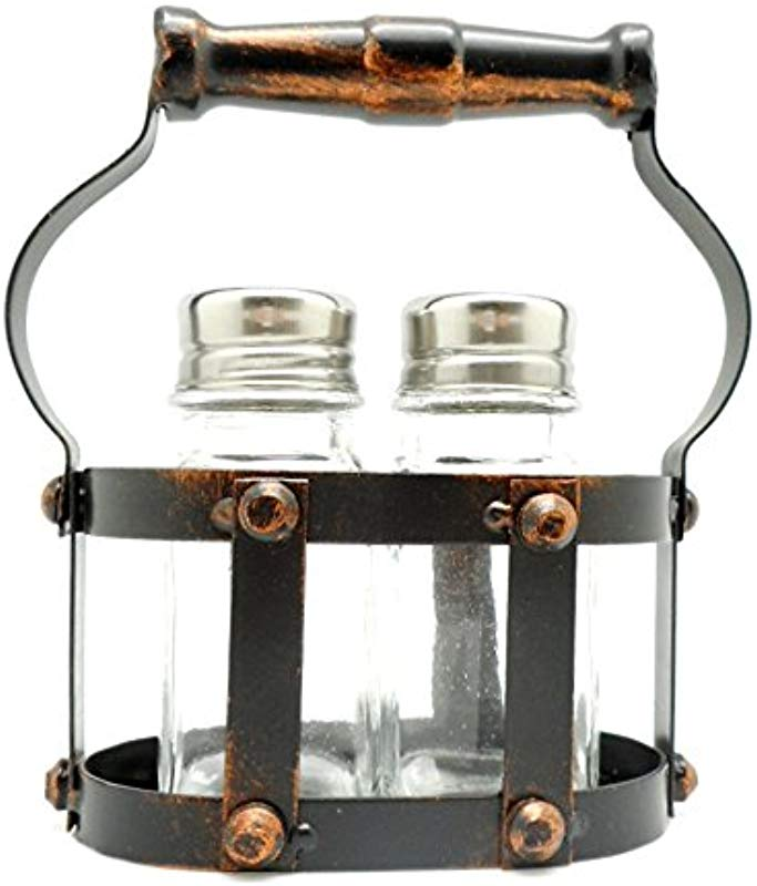Clear Glass Salt Pepper Shaker Set With Bronze Metal Caddy