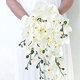 ChicWhite Orchidée Phalaenopsis Orchidée fleur artificielle pour fête de mariage Décor Fleur d'Orchidée Bouquet Bridal Shower Décor
