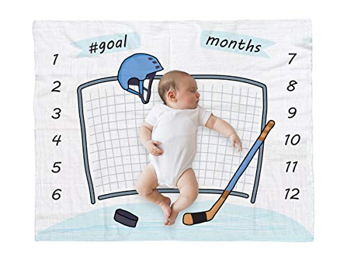 bok Baby Monthly Milestone Blanket for Newborn Boys and Girls - Perfect Weekly - Monthly - Yearly Blanket 40' x 50' – Sport Hockey Printed Theme