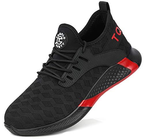 tqgold® Sicherheitsschuhe Herren Damen Arbeitsschuhe mit Stahlkappen S3 Arbeitsschuhe Leicht Atmungsaktive Sportlich Sneaker Schutzschuhe(8192Schwarz, 42)