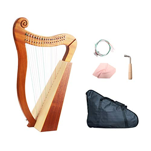 Celtic Irish Harp 19 Strings with Tuning Wrench and Carry Bag-Mahogany