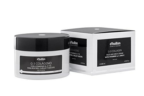 D'Bullón Crema facial G-3 Colágeno con Vitaminas A, C y E para Rostro, Cuello y Escote, 200 ml