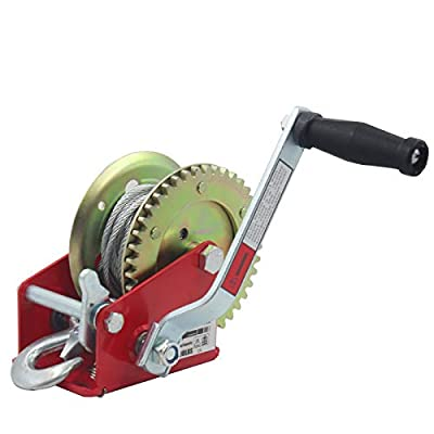 OPENROAD 1600lbs Hand Winch Boat Trailer Winch, with 10M (32ft) Cable Crank Hand Winch, Heavy Steel Structure Gear Towing Winch Manual Gear Winch (Red 1600lbs)
