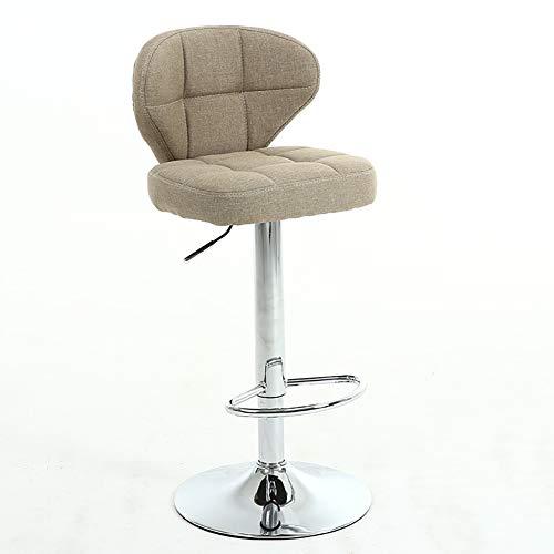 F-JX Moderne Barhocker, mit Rückenlehne und Fußstütze, 360 ° Schwenkgasheber-Stühle, für Frühstück Bar, Tresen, Küche und Heim Barhocker,Grau
