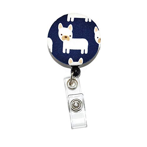 French Bulldog Badge Reel Retractable for ID or Key Card