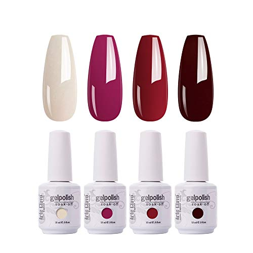 ARTE CLAVO Gel Nail Polish 4 Colours Set UV LED Soak Off Nail Art Manicure Salon Set 15ml B43