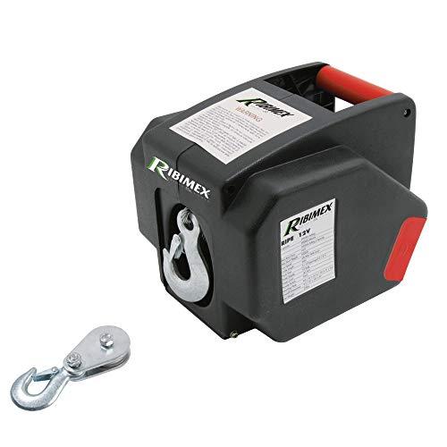 RIBIMEX PE12V Verricello elettrico 12 V, 25 A, 300 W, Nero/Rosso