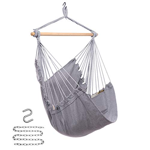 Y- STOP Hammock Chair Hanging Rope Swing - Max 330 Lbs - Quality Cotton Weave for Superior Comfort,Durability (Light Grey)
