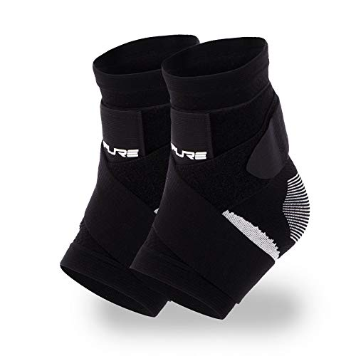 Pure Athlete Ultimate Ankle Support Brace – Compression Sleeve with Adjustable Straps for Extra Support – Running, Basketball, Soccer (Black - 2 Supports, Medium)