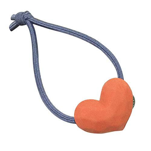 Qomomont Love Heart - Elastici per capelli spessi, elastici per capelli per coda di cavallo, elastici in gomma, resistenti, colore arancione