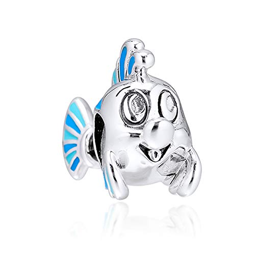 FUNSHOPP 2019 Autumn The Little Mermaid Flounder Bead 925 Silver DIY Fits for Original Pandora Bracelets Charm Fashion Jewelry