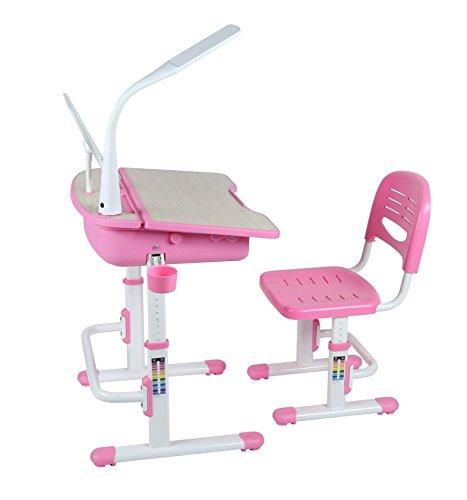 Leomark Ergonomisch SMART Kinderschreibtisch - Pinke Farbe - Schreibtisch mit Schublade und Stuhl höhenverstellbar für Kinder + LED Lampe, in jedes Kinderzimmer