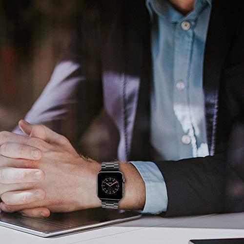 AppleWatch金属ベルトEvershop44mm/42mmステンレスアップルウォッチベルトビジネス風時計バンドアップルウォッチバンド腕時計ストラップバンド調整series1series2series3series4series5対応(44mm/42mm,ブラック)applewatch5バンド