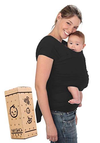 Fular elástico/Baby wrap (portabebés), rebozo para múltiples amarrados y posiciones, Negro, 100%...