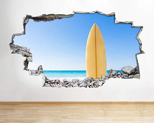 Etiqueta de la pared tabla de surf playa azul cielo roto calcomanía 3D arte vinilo habitación H507