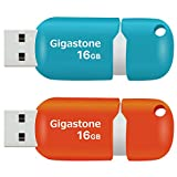 Gigastone V10 16GB 2-Pack USB2.0 Flash Drive Thumb Drive Memory Stick Pen Drive Capless Retractable Design (Blue&Orange)