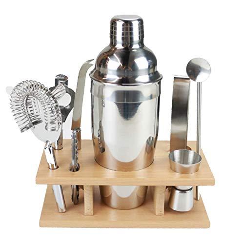 CHENMAO Shaker Shaker Shaker Shaker Kit  Set de herramientas de barra de acero inoxidable Conjunto: colador de cócteles, coctelera de martini, jigger doble, cuchara de bar, abrelatas de botella, abrel