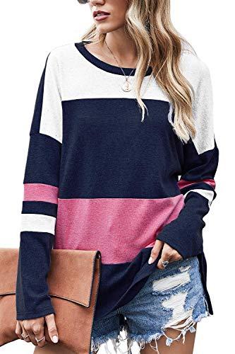 Odosalii Langarmshirt Sweatshirt mit Streifen Pullover Casual Shirt Rundhals Lose Oberteil Tunika Tops (B-Navy blau, X-Large)