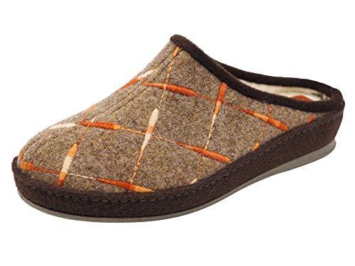 Schawos Filz Hausschuh für Damen, Qualitäts-Pantoffel, Made in Germany, mit anatomisch geformtem Fußbett und aktiver Fersendämpfung, Modell SP (41 EU, Braun (12W), numeric_41)