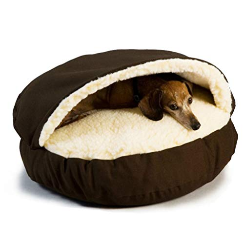 Csatai Hundehöhle, gemütlich, warm, Kaschmir, groß, universal, langlebig, weiche Hundehütte, Haus für große Hunde, Katzen, abnehmbar, waschbar (Coffee)