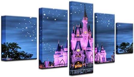 Cinderella Castle Disney World Magic Kingdom 5 Panel Canvas Print Wall Art 12x20x2 12x28inx2 product image