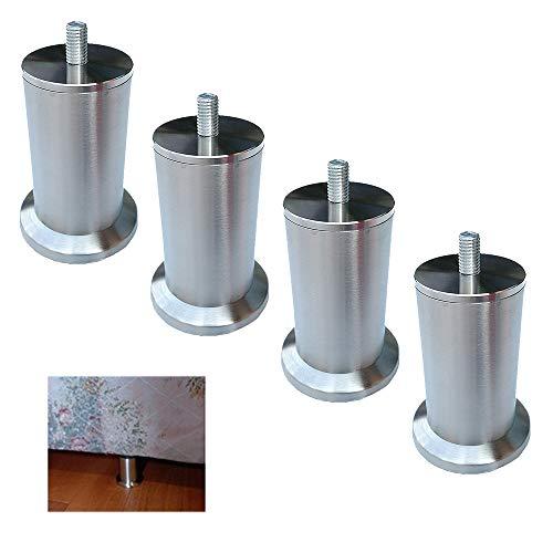 Furniture Leg Metal Patas De Sofá, Patas De Mesa Acero Inoxidable, Patas para Muebles, con M10 (10mm) Tornillos, (Altura 58-730mm), 4Pcs