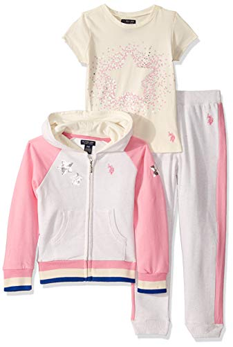 U.S. Polo Assn. Girls' Toddler Zip Front Raglan Sleeve Jacket, T-Shirt, and Jogger Set, Multi, 2T