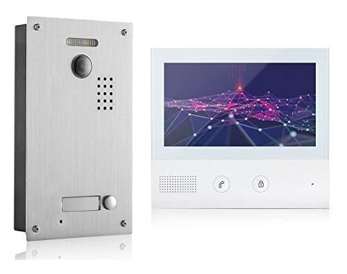 GVS 2-Draht/IP Video Türsprechanlage, 1 Familienhaus Set, Handy-App, 7 Zoll Monitor, Tür-Öffner, Foto-/Video-Speicher, Türstation, 2 MP Kamera, 170° Erfassungswinkel, AVS7038-7071-11