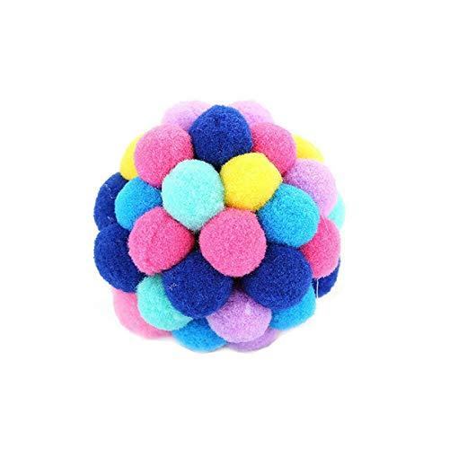 3 tamaños juguetes de mascar interactiva divertidos hechos a mano peluche de peluche juguetes, bolas hinchadas, bola hinchable juguete interactivo gato de felpa gato gato conjunto de juguete (7 cm)