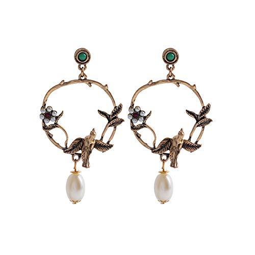 Difcuy Fashion Women Earring Elegant Retro All-Match Garland Drop Flower Bird Faux Pearl Ear Stud Earrings Party Stylish Jewelry for Dating Party Girlfriend Bronze