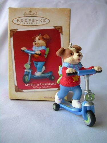 Hallmark 2004 Keepsake Ornament My Fifth Christmas Dog on Scooter in Box