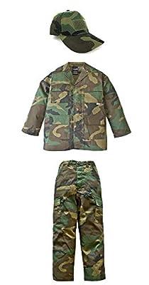 Kid's Military Fatigue Set in Woodland Camo (SM)