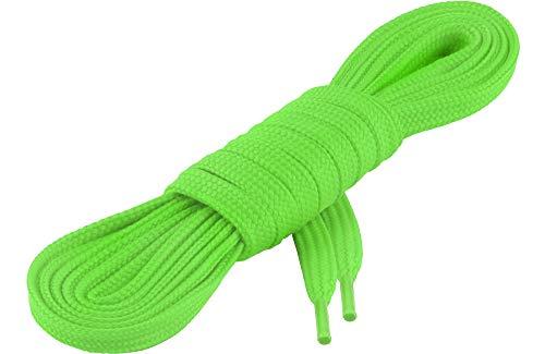 Ladeheid Qualitäts-Schnürsenkel LAKO1001, Flachsenkel für Arbeitsschuhen und Sportschuhen aus 100% Polyester, ca. 7 mm Breit, 18 Farben, 60-200 cm Länge, Neongrün116, 190cm
