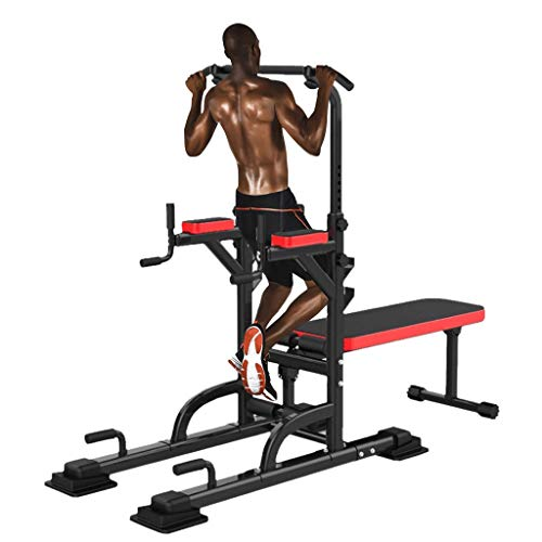 KINGC All in One Pull-Up Bar Adjustable Power Tower Dip Station with Bench Bar Home Gym Exercise Fitness Equipment Multifunction Workout Stand Max Load 441 Lbs Black (Red)