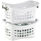 White Stackable Laundry Basket with Grey Handles | The Container Store