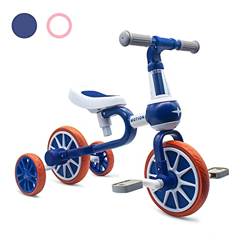 XIAPIA 3 in 1 Kids Tricycles Gift for 2 Years Old Boys Girls with Detachable Pedal and Training Wheels,Baby Balance Bike Trikes Riding Toys for Toddler(Adjustable Seat)