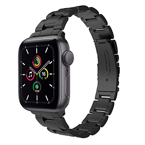 Hatolove Metal Strap Compatible with Apple Watch Strap 38mm 40mm 42mm 44mm, Upgraded Stainless Steel Metal Replacement Wristband for Apple Watch SE, iWatch Series 6/5/4/3/2/1 (38mm/40mm, Black)