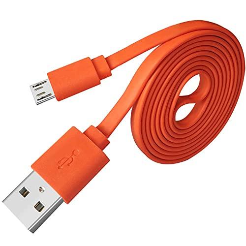 Adhiper-Micro USB Cable de repuesto para rápido cable plano Cable de alimentación Cable compatible con UE Boom 22AWG Android y JBL Flip 2 Flip 3 Flip 4 Speaker (1M/naranja)