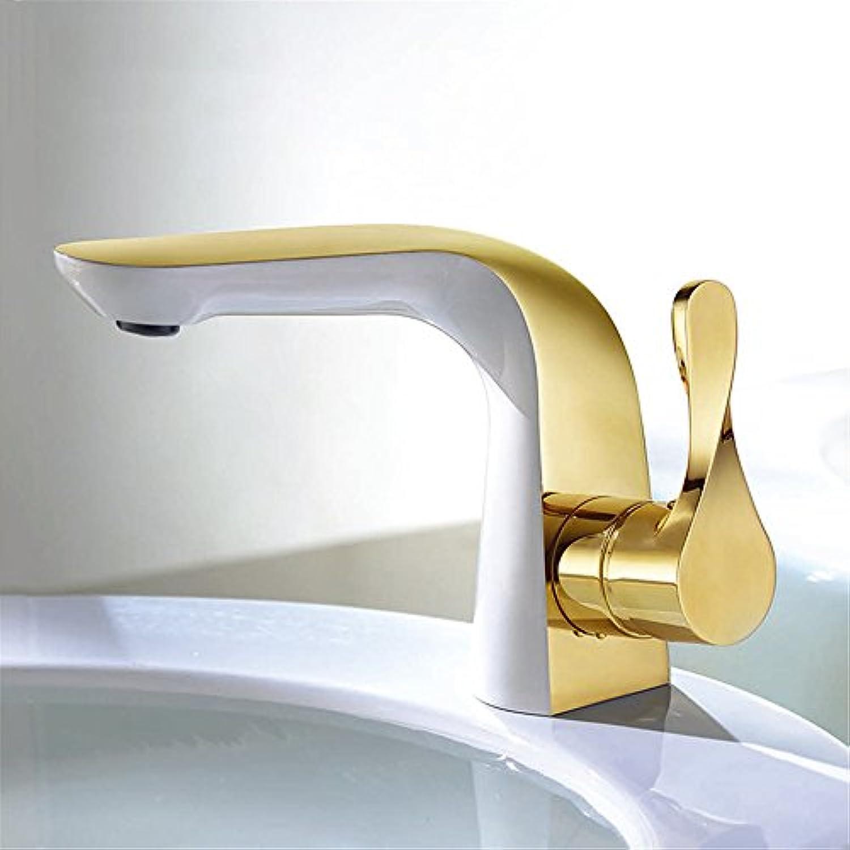 Bijjaladeva Wasserhahn Bad Wasserfall Mischbatterie WaschbeckenWeies Gold Lack Waschbecken Armatur Voll Kupfer heie und Kalte Einloch Mischbatterie Kreative E