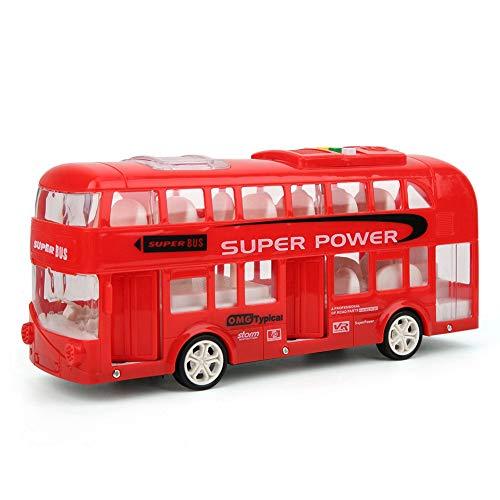 Dubbellaagse bus auto speelgoed, kinderen hoge simulatie elektrische plastic licht muziek bus speelgoed model