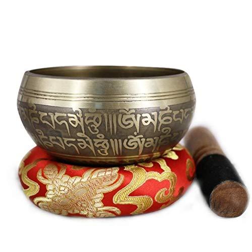 XLAHD Cuenco Tibetano para Cantar nepalés Hecho a Mano con Mantra Tallado y Hermoso, para meditación, atención Plena, Sonido, Regalo