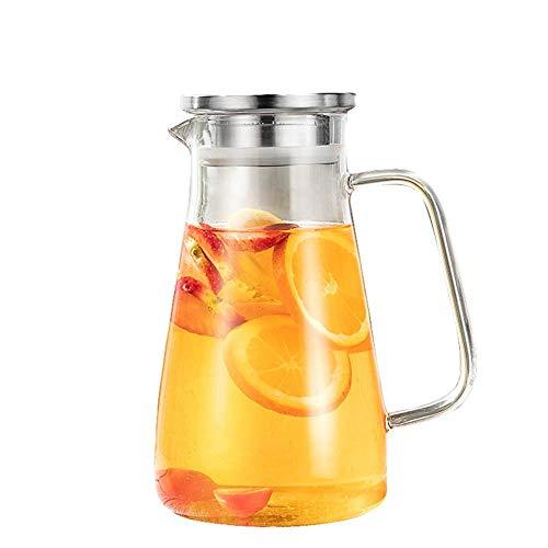 HJYSQX Jarra de Vidrio de 1500 ml / 50,72 oz con manija Alta Resistencia al Calor Jarra Espesada Botellas de Bebidas Calientes o heladas, Calientes o heladas, sin Goteo para té de Flores