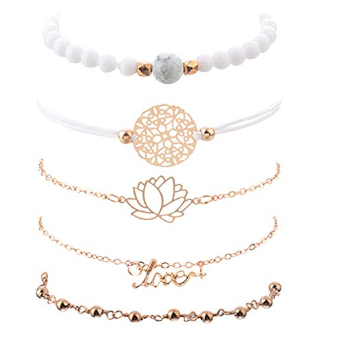 Hi Collie 5pcs Layered Bracelet Set, Lotus Adjustable Charm Bracelet Assorted Beaded Stackable Bangles Jewelry for Women Girls