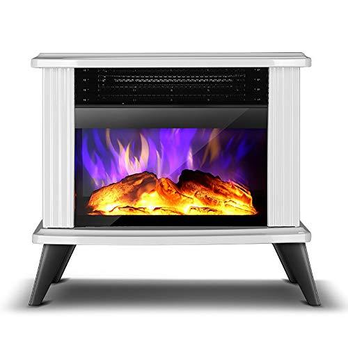 CCFCF Elektrischer Kaminofen, Tragbarer Freistehender Kamin Mit Thermostat, Realistischer Flamme Und Protokollen Vintage-Design Für Zuhause Und Büro,Weiß