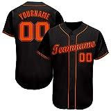 Custom Boy Baseball Jersey Button Down Hip Hop Shirt Printed Team Name & Number Big Size Black-Orange