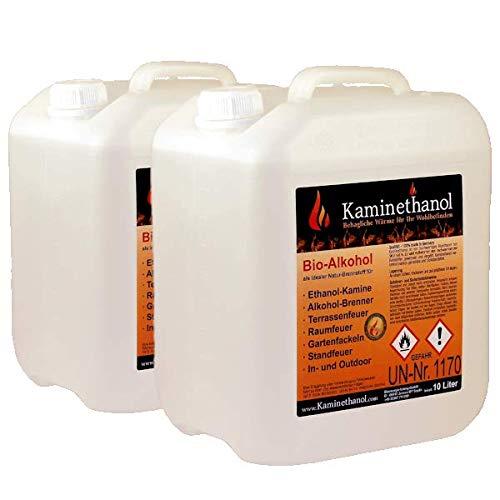 Kaminethanol Icking 20 Liter Bioethanol 96,6% (2 x 10 L) Premium Qualität - direkt vom Hersteller für Ethanol Kamine, Alkohol-Brenner, Terrasenfeuer, Raumfeuer und Gartenfackeln